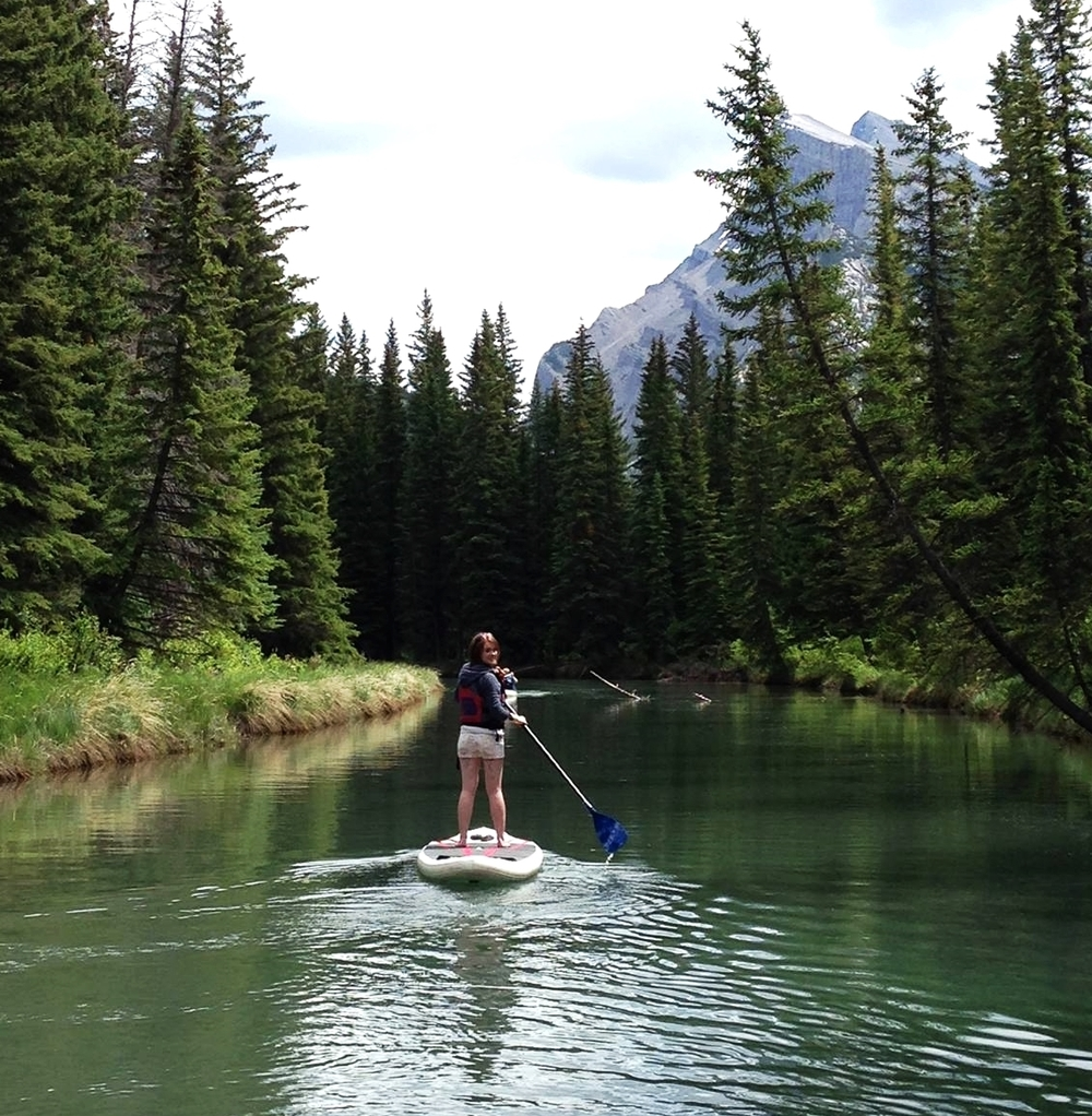 Paddleboarding to Vermilion Lakes in Banff, Alberta