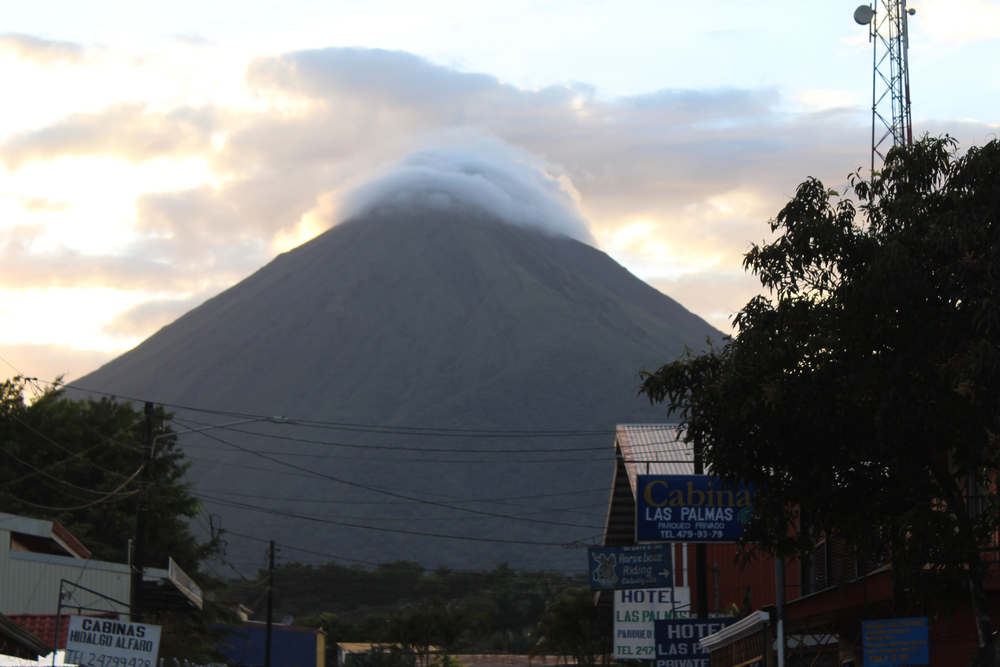 Arenal Volcano's last major eruption was in 1968. The volcano is often hidden by cloud cover; I was lucky to get this shot. This is the first (and only, so far) volcano I've seen, and it was an amazing sight.