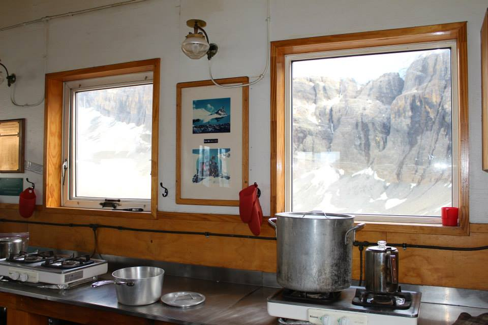 The kitchen at Bow Hut in Banff National Park.
