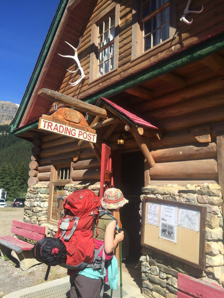 Katie outside Num-Ti-Jah Lodge on our way to Bow Hut in Banff National Park.