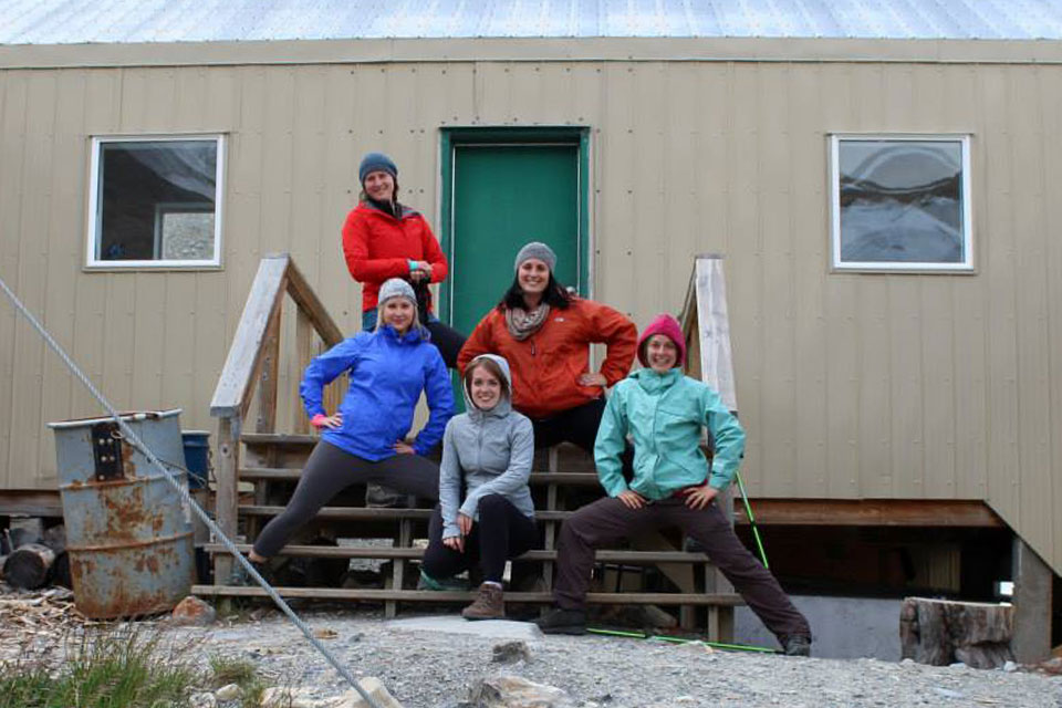 Our group in front of Bow Hut in Banff National Park.