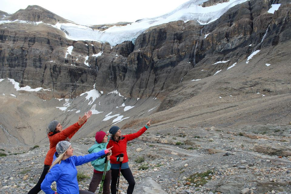 Being goofballs. Bow Glacier in the background.