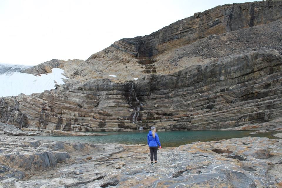 Anne admiring a lake above Bow Hut in Banff National Park.