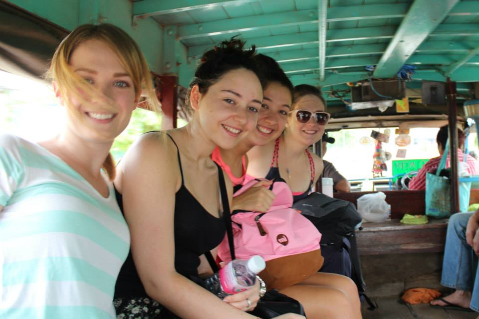 Riding in the 'local taxi' to Sukhothai Historical Park, Thailand.