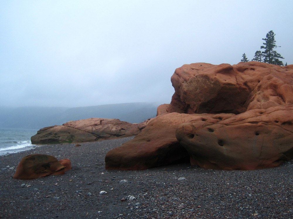 Ancient Red Rocks at Cape Chignecto, Nova Scotia.