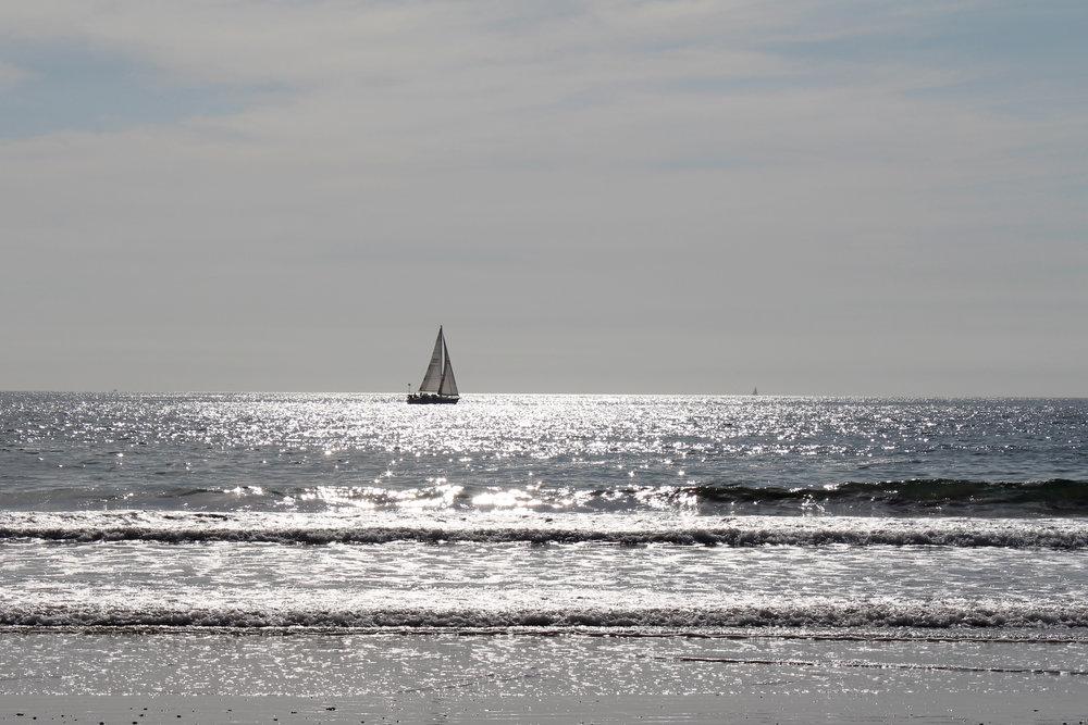 A sailboat at Santa Monica Beach