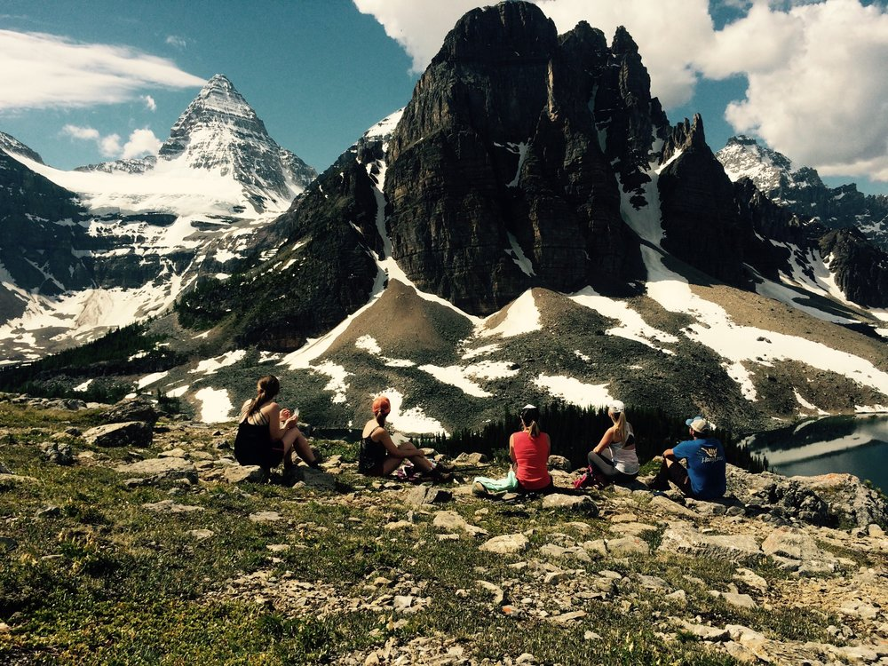 Having lunch on the Nublet in Mount Assiniboine Provincial Park, BC.