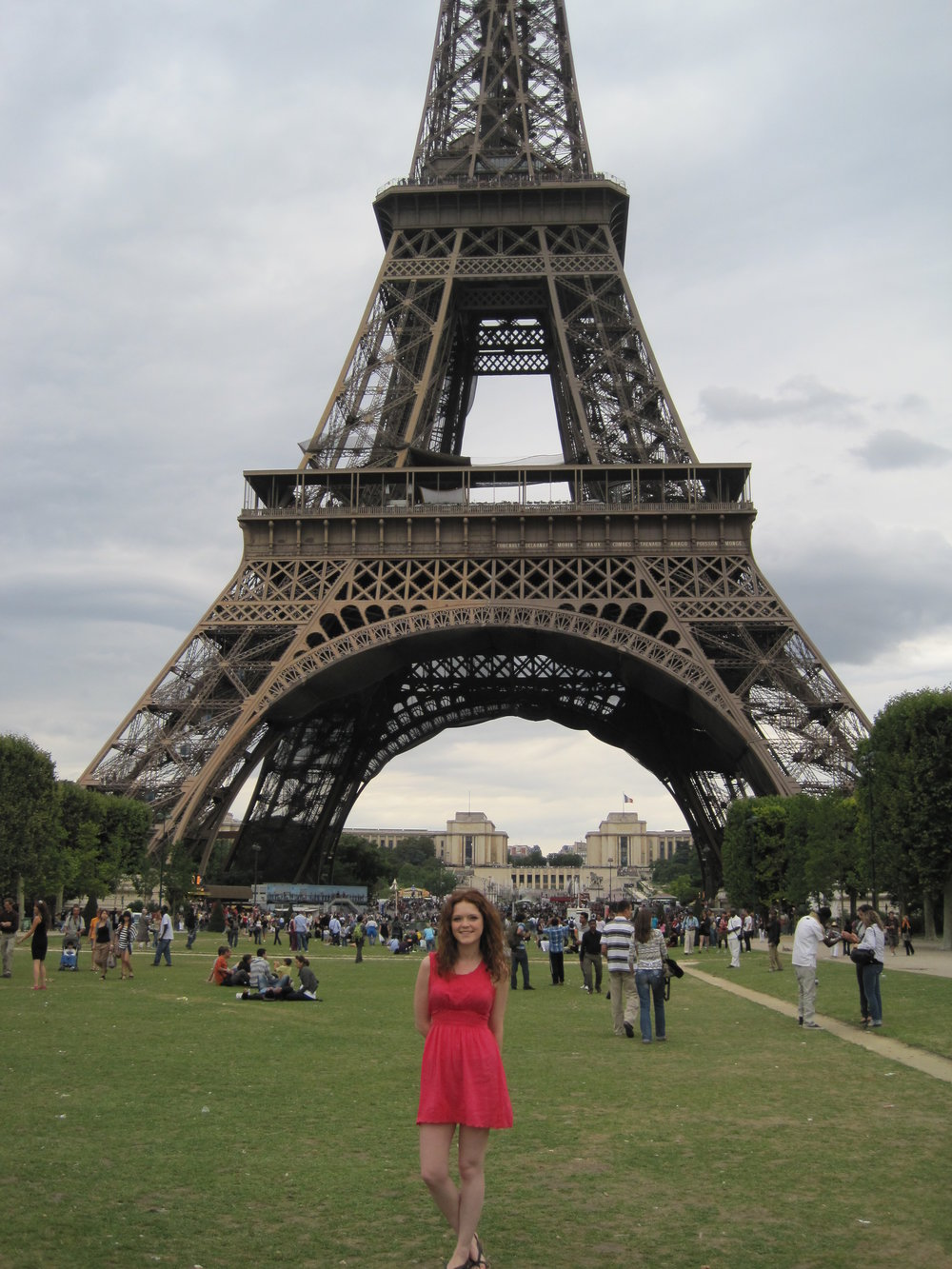 Kelsey in front of the Eiffel Tower in Paris, France.