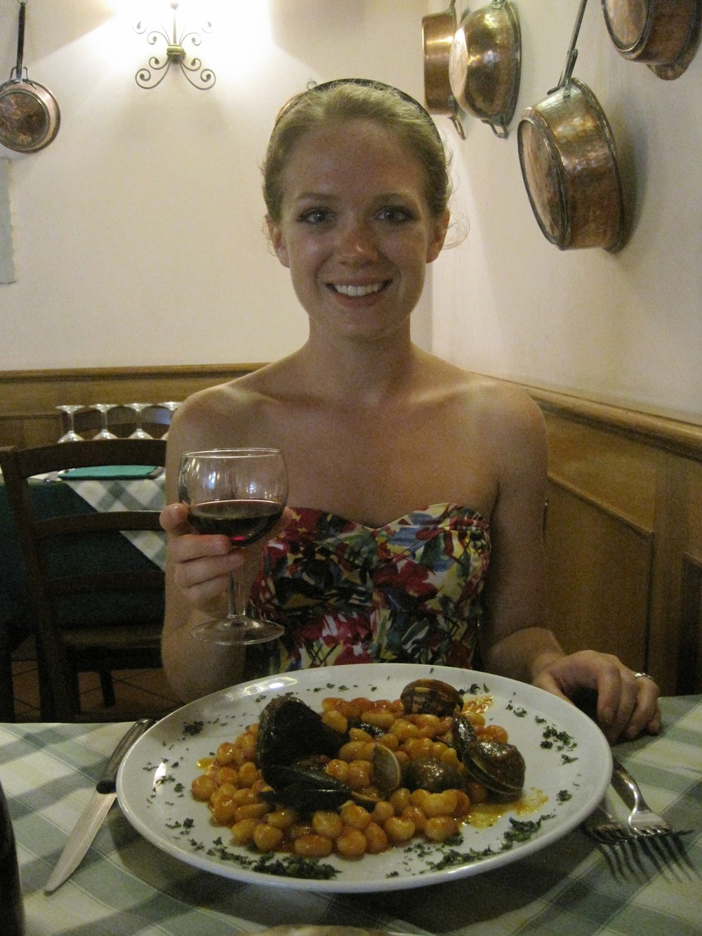 Trying gnocchi for the first time in Trastevere, Rome.