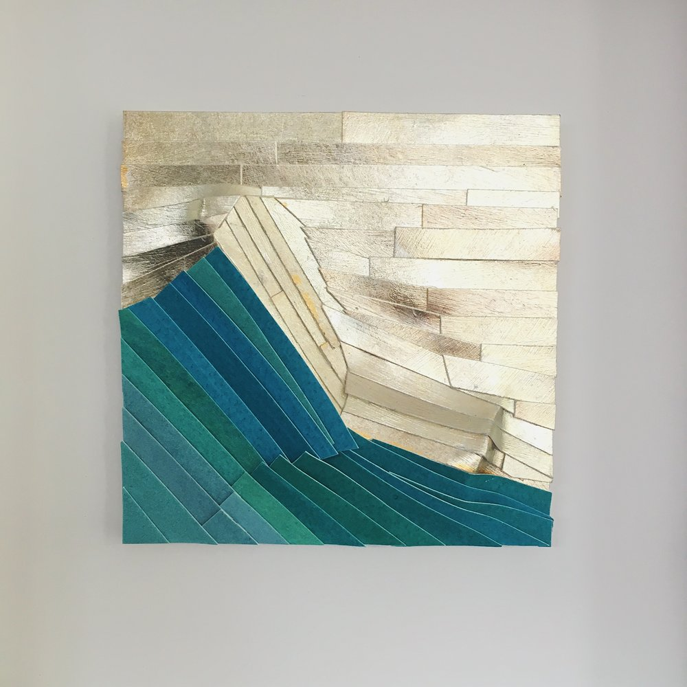 """Pyramid Point,4 3/4"""" x 4 3/4"""", gold leaf and watercolor"""