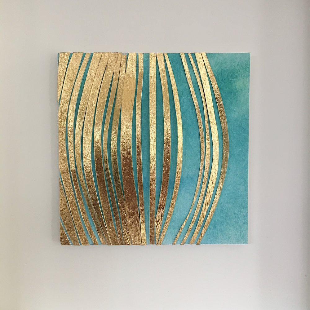 """Sunbeams, 4.5"""" x 4.5"""", gold leaf and watercolor"""