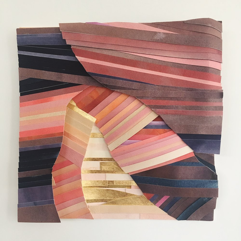 """Canyonway, 9"""" x 9"""" x 3/4"""", watercolor and gold leaf"""