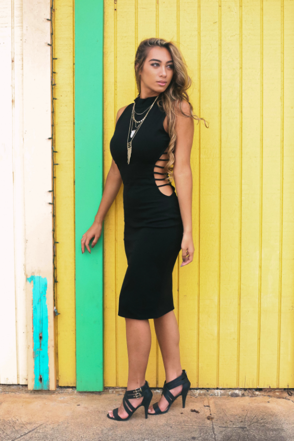 Hot date?In need of a new LBD? This spicy little black dress is $48, layered necklace, $20 for a total of $68. The heels are $49 with a complete look for under $120.