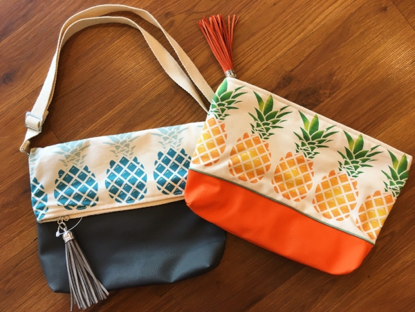 Last but not least, our Sky Dreams collection.  Pineapples, yes.  Locally made, yes. Vegan leather, yes.  Need we say more?  Actually, yes, they are lined with water proof material.  We know you want one!