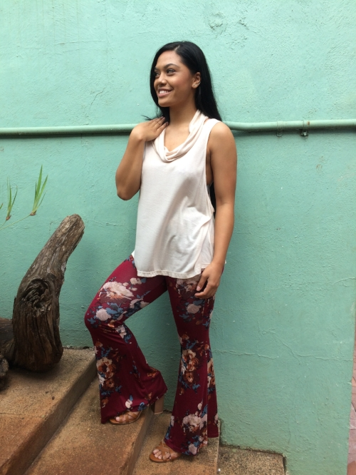 Seriously, we are living for these pants!  Burgundy, floral bells are going to be your new best friend this season.