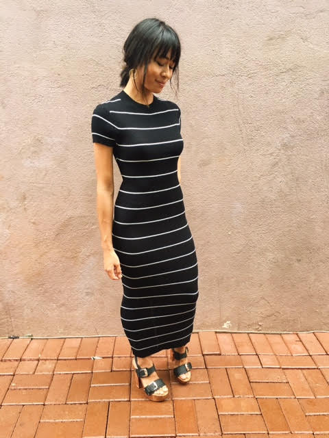 This dress was made for you!  This ankle length fitted maxi paired with a heel is calling your name.