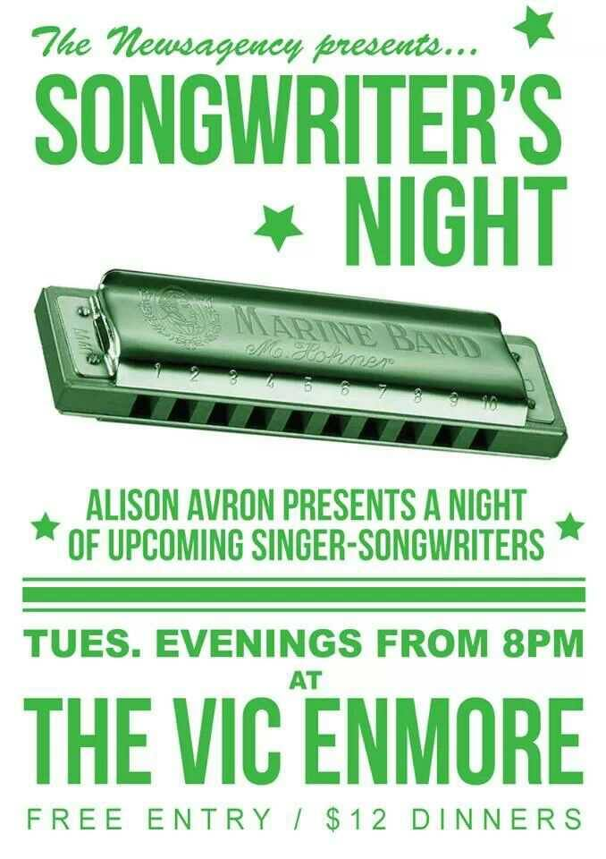 Poster for Alison Avron's Songwriter Night at The Vic hosted between 2013 & 2015