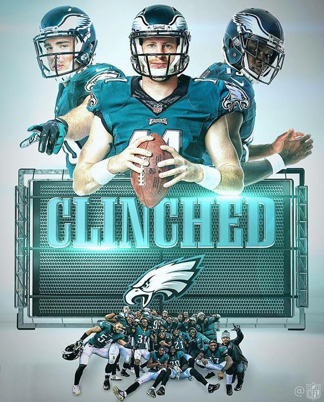 Eagles have clinched East and the Playoffs!...but at a huge cost 🤕 Get well soon @cj_wentz11. Foles and the D will keep them aloft #flyeaglesfly (follow @passyunk_avenue for updates on the opening of our Philly Restaurant and Bar!)