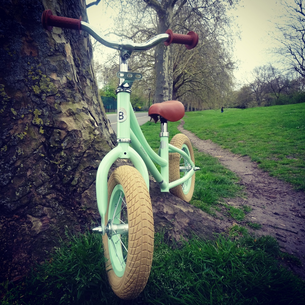 Our little Bobbin Gingersnap balance bike in turquoise
