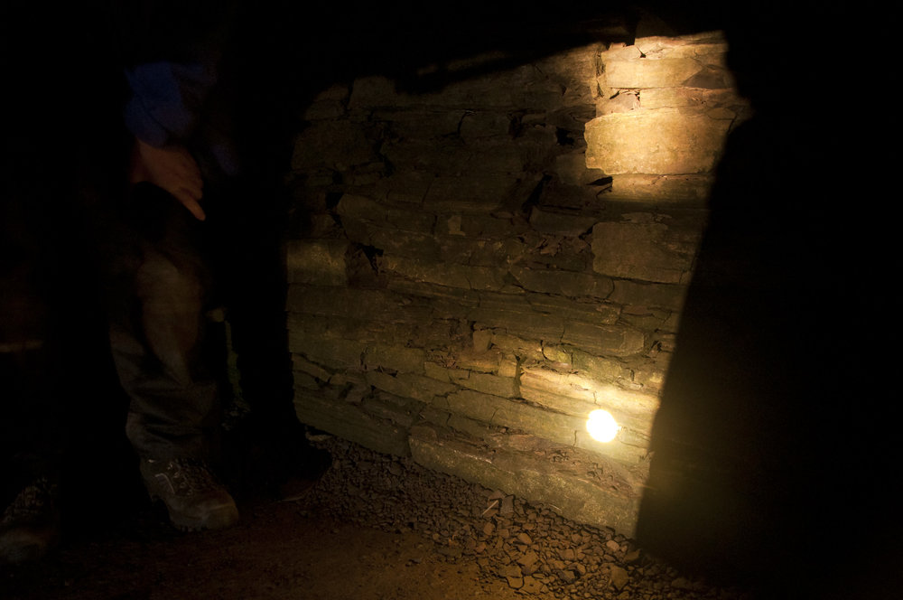 optical projection of the rising sun upon the chamber wall inside tomb of the eagles