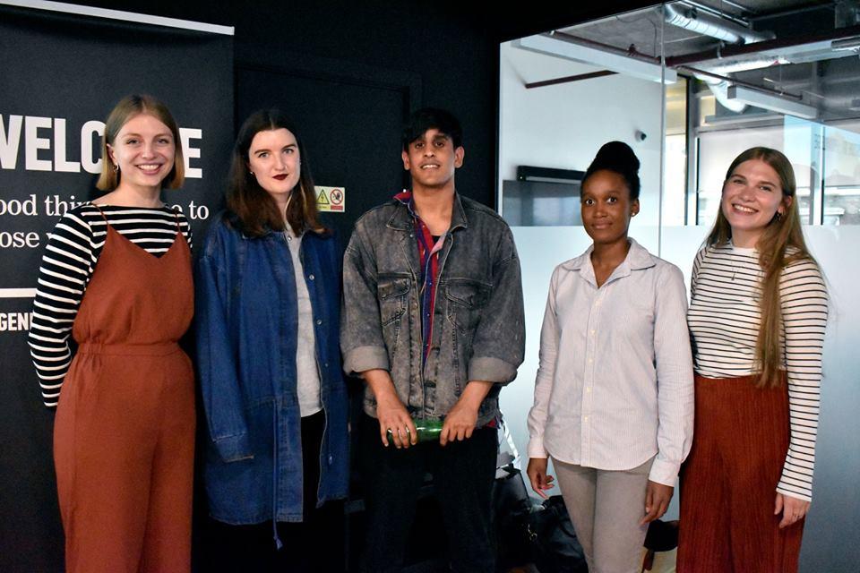 Wednesday 31st May 2017  Live recording   Episode 12: Creating Platforms   (L-R) Sidonie Bertrand-Shelton (Co-creator), Sadhbh O'Sullivan (Ladybeard), Amit Singh (Consented), Imriel Morgan (Melanin Millennials), Elena Guthrie (Co-creator)