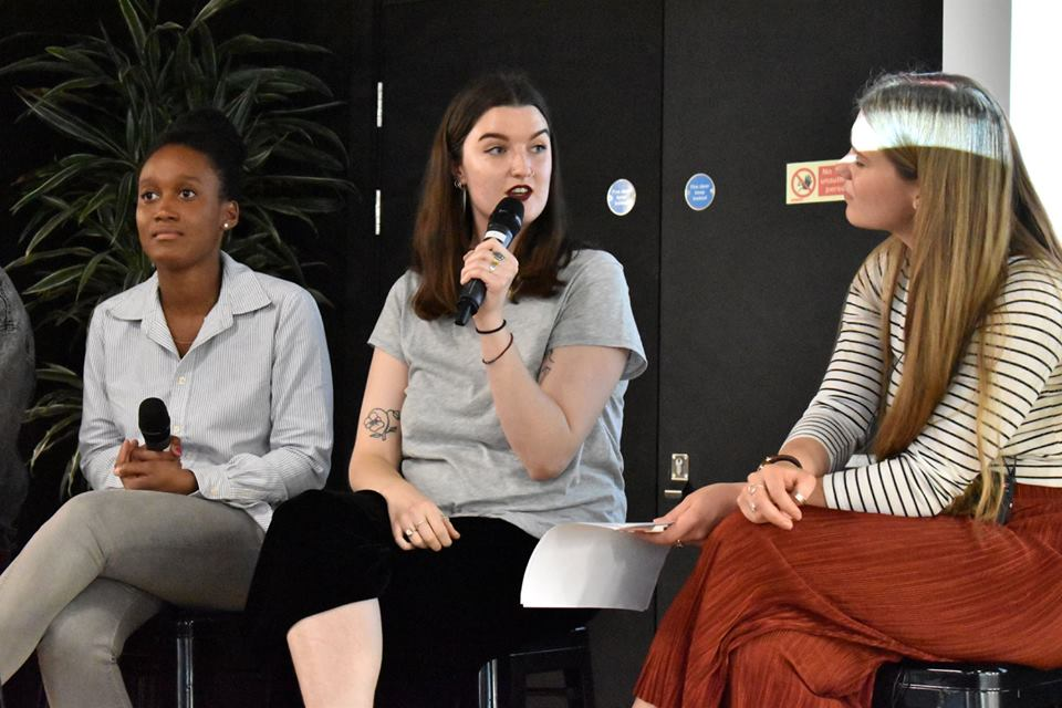 Wednesday 31st May 2017  Live recording   Episode 12: Creating Platforms   (L-R) Imriel Morgan (Melanin Millennials), Sadhbh O'Sullivan (Ladybeard), Elena Guthrie (Co-creator)