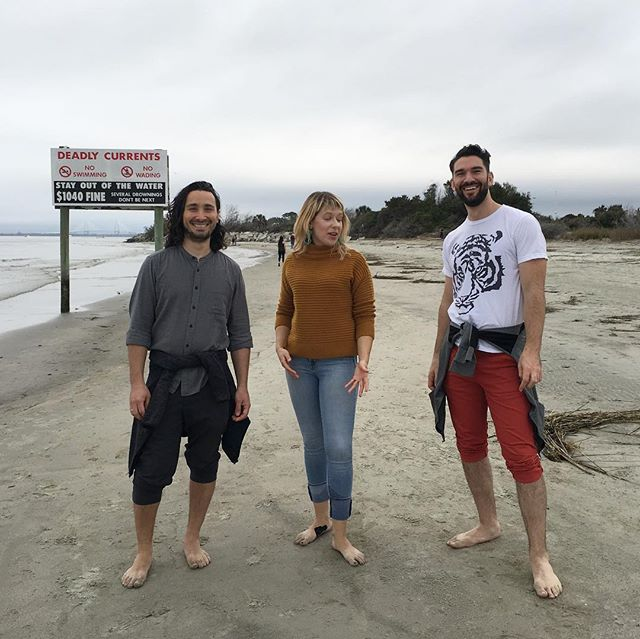"in which @leahennessy explains ""the beach"", and @jacobmeansmusic is EXCITED. Band quality time on Sullivan's Island, NYE. #ultrafineart #nothingphasesbrad"