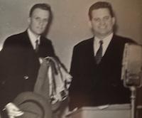 Bob Evans in a GEM recording studio with Graham, back when men wore hats