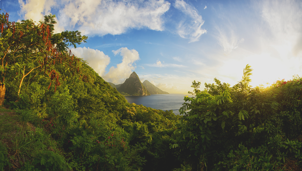 Soufriere and the pitons, a famous landmark in St Lucia