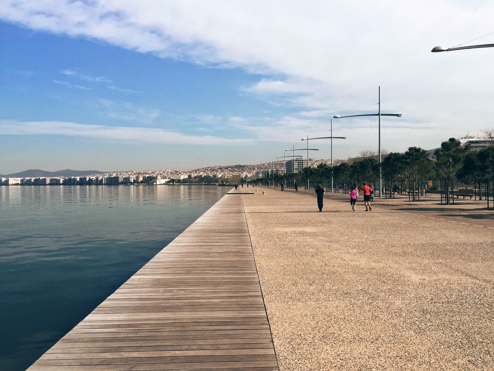 The recently reconstructed waterfront of Thessaloniki