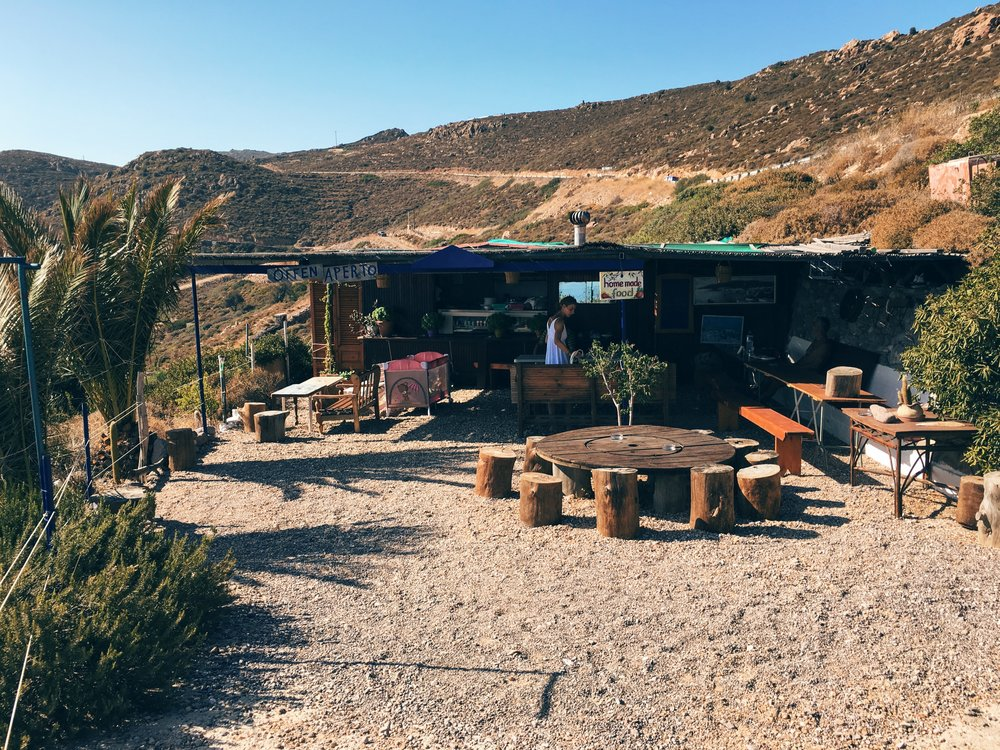 Atop the hill from Didymes beach sits this magical food joint: Nikos and Theologia (pictured below)