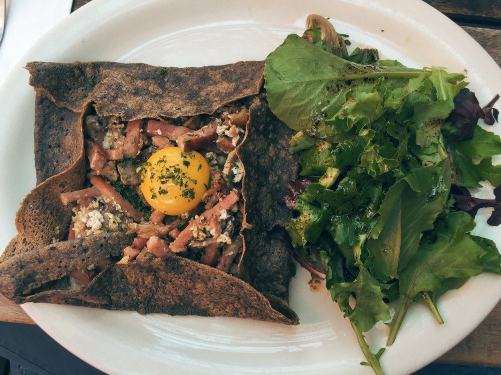 Parisienne Crepe with egg, ham, mushroom and swiss cheese.