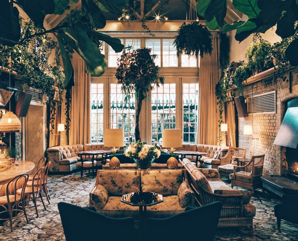 Interiors of the Chiltern Firehouse, fireside