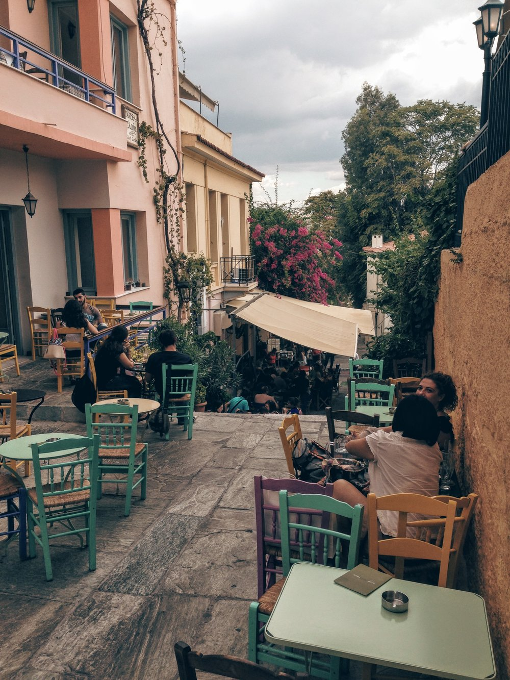 Coffee shops catering mostly to youngsters at Anafiotika in Plaka