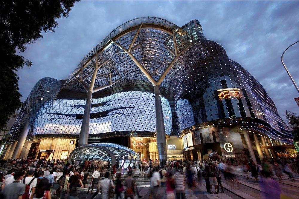 The famous ION shopping centre on Orchard road featuring luxury boutique shops