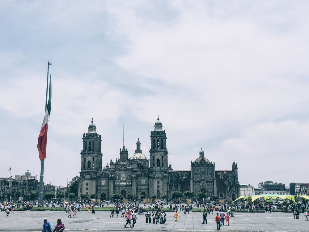 A view from Zócalo and the cathedral