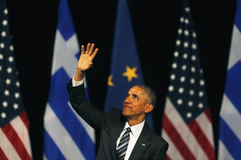Obama saluting Greeks after his last speech on foreign soil