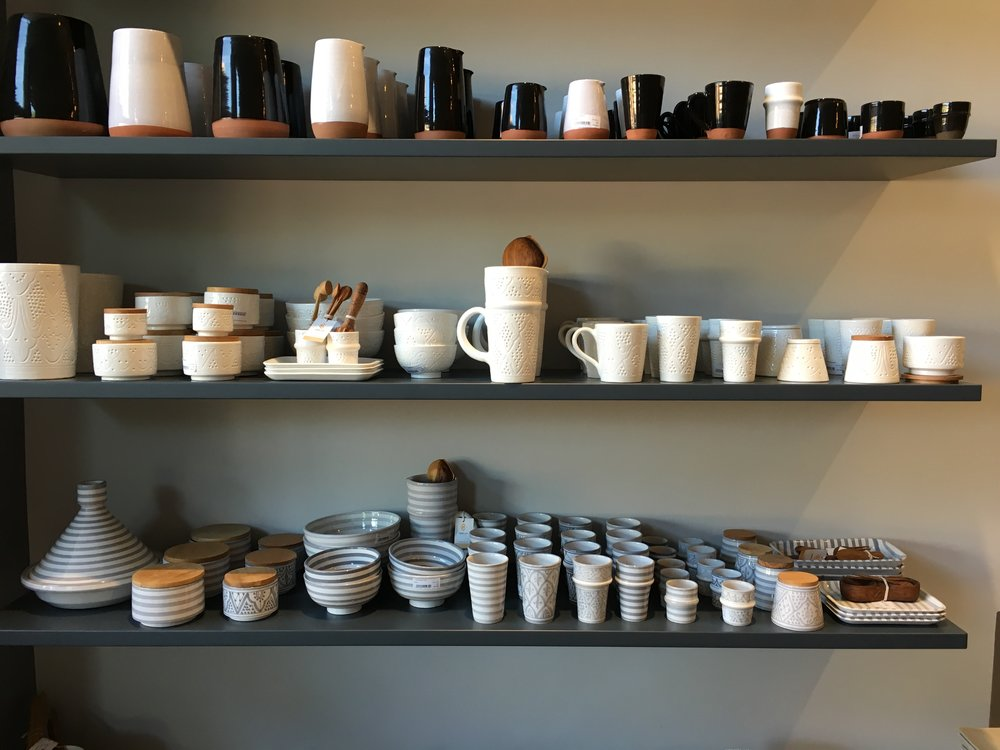 Handmade pottery at the 33 Rue Majorelle café and shop
