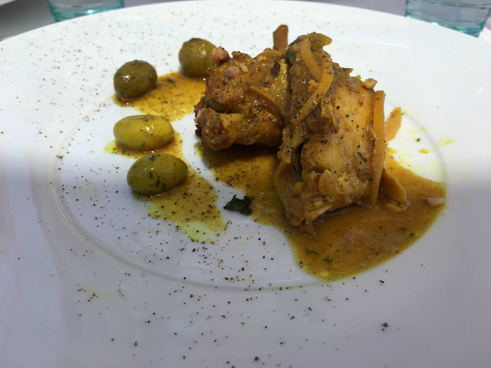Chicken tagine with olive oils and lemon confit