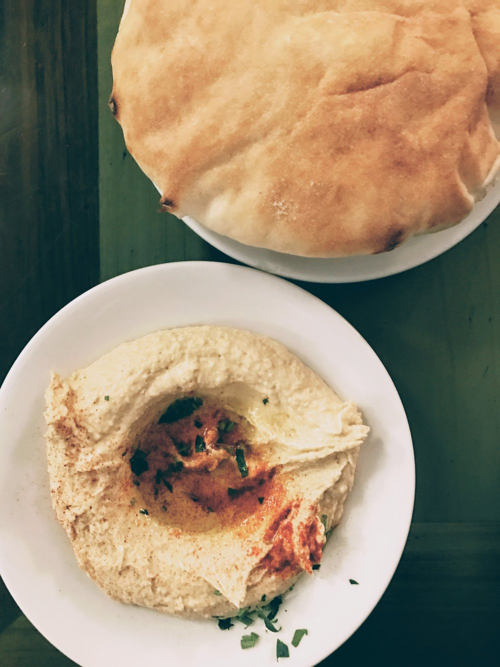 Hummus served with pitta bread
