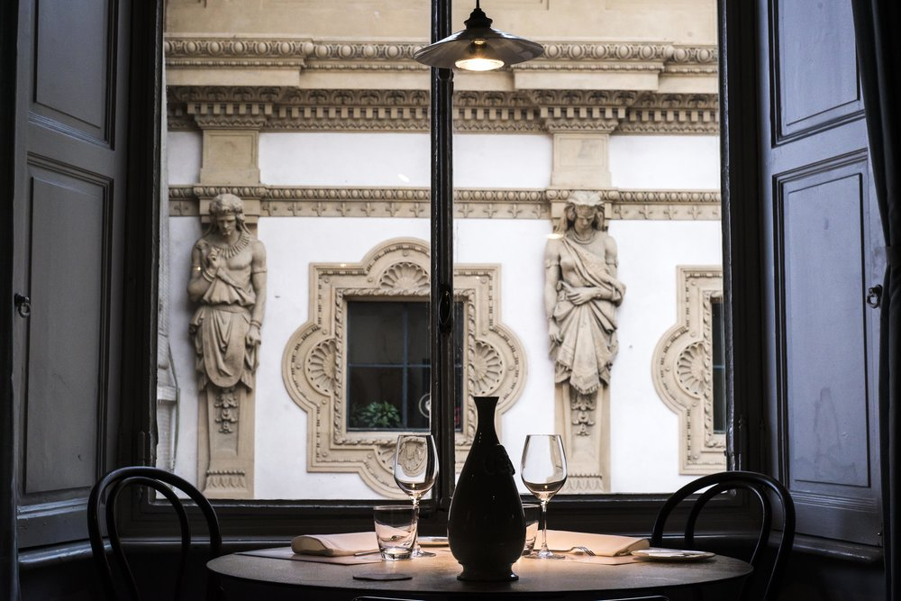 Interiors at Spazio restaurant overlooking the Duomo