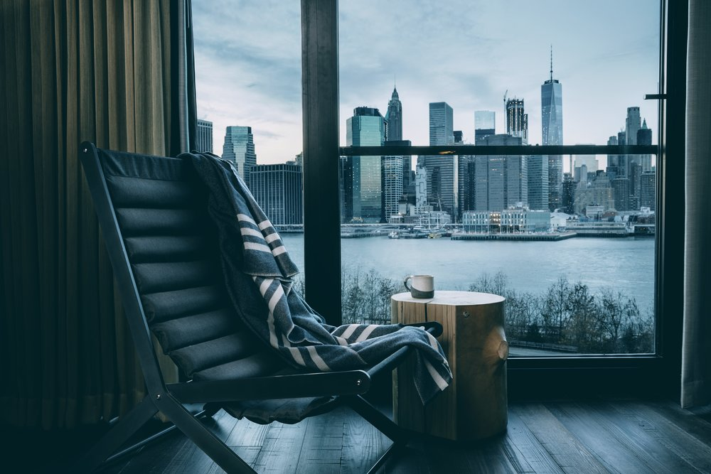 Most rooms overlook the New York's skyline or Brooklyn Bridge