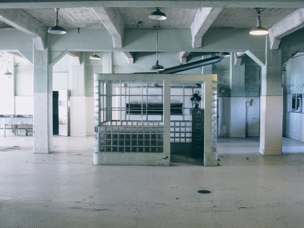 The kitchen area of the Alcatraz Federal Penitentiary