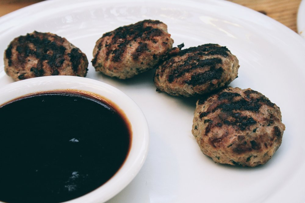 BBQ beef patties, medium cooked and tender soft