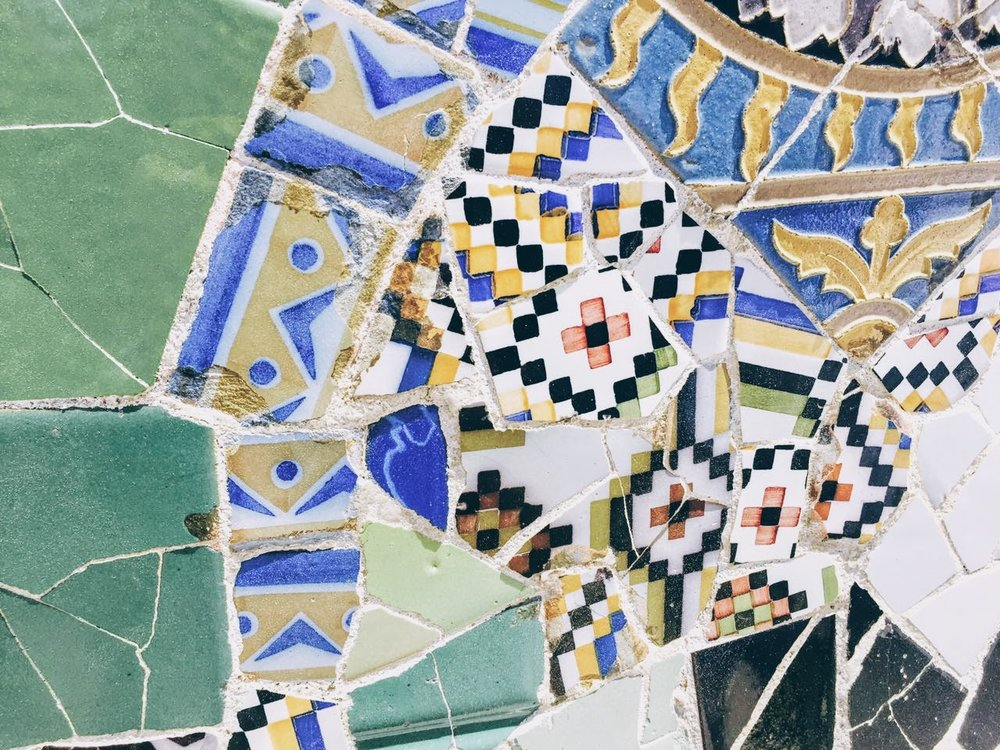 Details of Park Guell and its fantastical mosaic arrangements