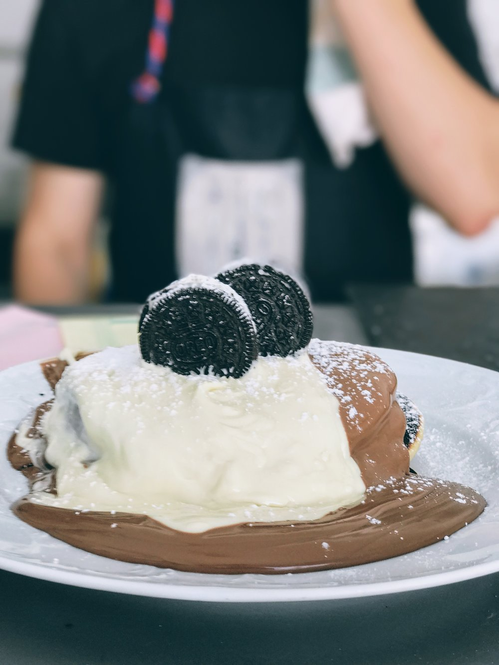 Oreo and white chocolate pancakes
