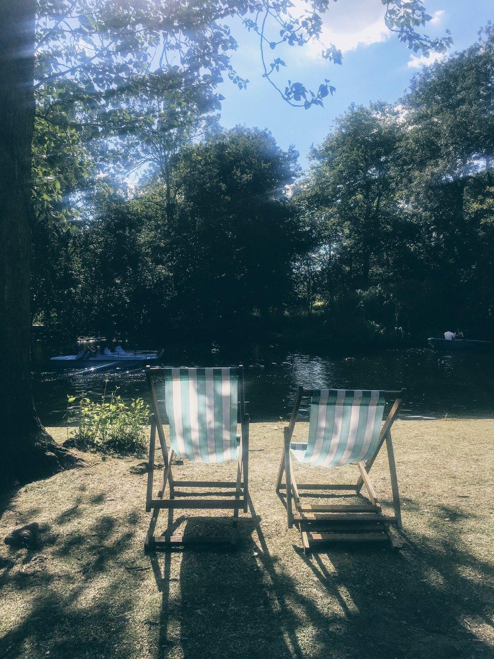 Deck chairs at Regent's Park