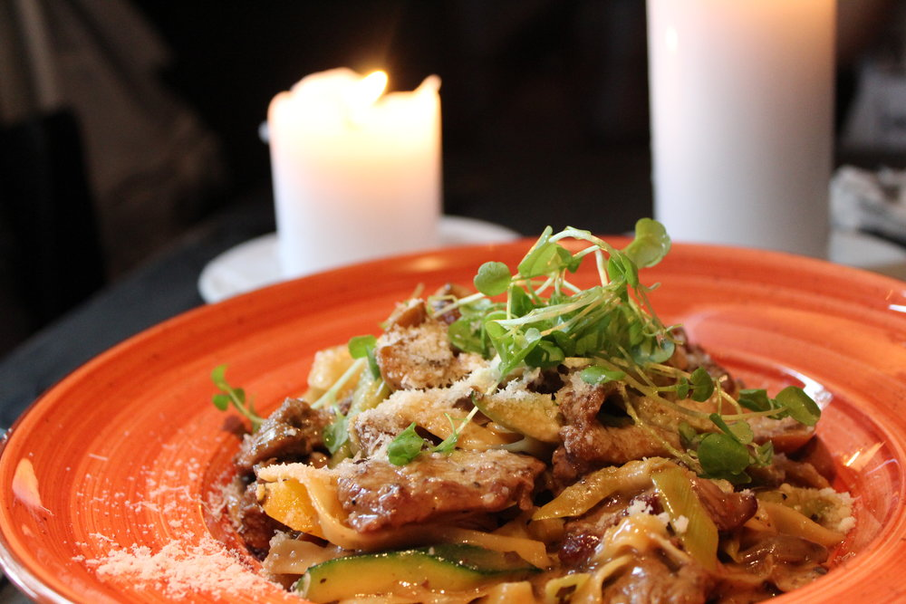 Strip steak pasta at Apropos.  And lots and lots of candles
