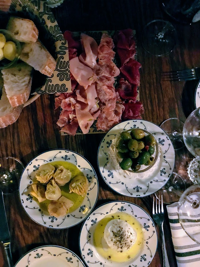 Salumi, artichokes, burrata, olives and sourdough