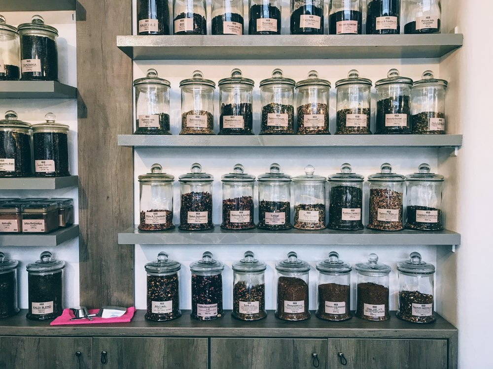 Extensive selection of coffee and tea